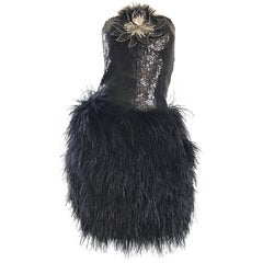 Amazing Vintage Lillie Rubin Black Sequin + Ostrich Feather Strapless Dress