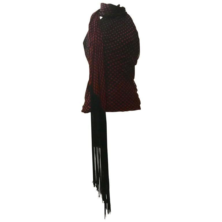 New 2007 Alexander McQueen Silk Polka Dot Fringed Scarf Halter Top Red and Black For Sale