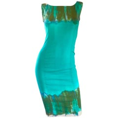 Vintage Alberta Ferretti Turquoise Blue + Green Tie Dyed Sleeveless Sheath Dress
