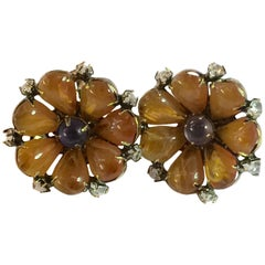 Luxurious IRADJ MOINI Amber and Amethyst Clip on Earrings