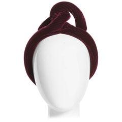 1930s Vintage Velvet Bordeaux Sculptural Turban Hat