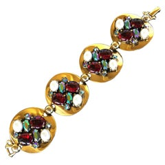 Schiaparelli Ruby Red Super Wide Bracelet with Glass Cabochons. 1950's.