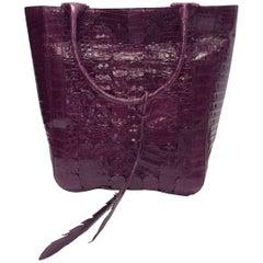 Nancy Gonzalez Large Purple Crocodile Shoulder Bag