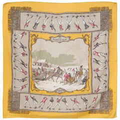 Yellow Hermes Silk Scarf Les Plaisirs du Froid by Hugo Grygkar