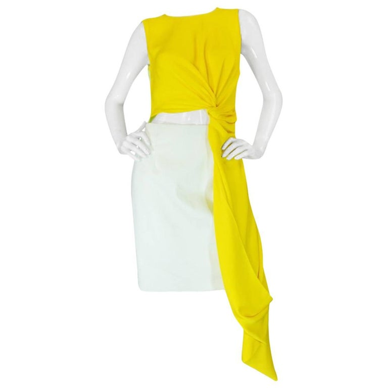 S/S 2014 Roksanda Ilinčić Yellow Draped Colorblock 'Layton' Dress