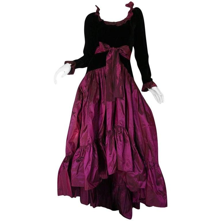c1979-1980 Yves Saint Laurent Velvet & Silk Taffeta Dress
