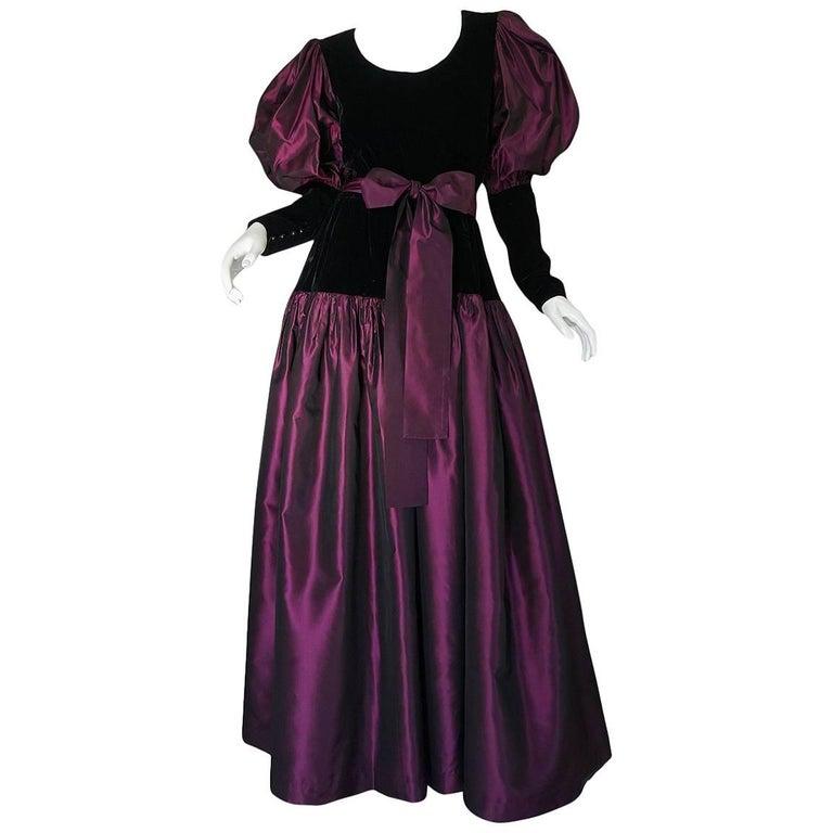 Yves Saint Laurent Black Velvet and Taffeta Dress, A / W 1982