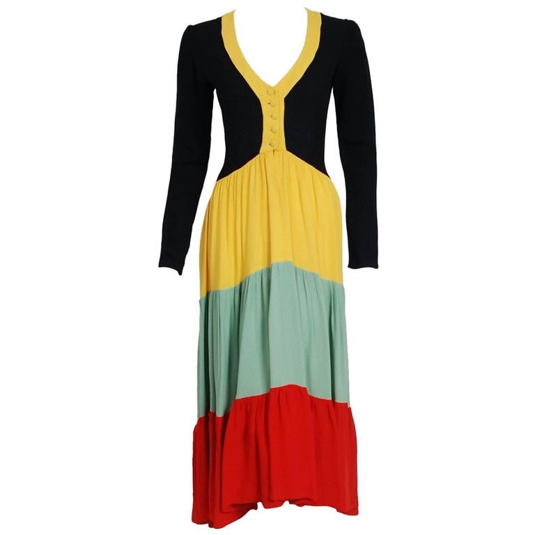 1971 Ossie Clark Couture Traffic Light Block-Color Tiered Crepe Plunge Dress