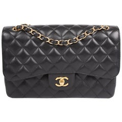 Chanel 2.55 Timeless Jumbo Double Flap Bag - black caviar leather/gold Cha