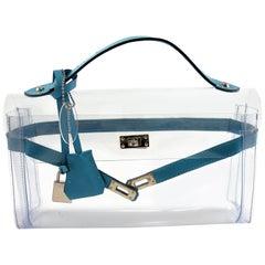 ORIGINAL Mon Autre Sac ® Clutch Crystal Pvc and Bleu leather / Brand New