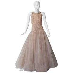 New Valentino Fantasy Silk Net & Tulle Beaded Pink  Gown