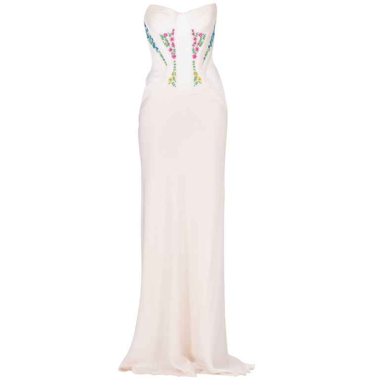 Revived from Gianni Versace archive! EMBROIDERED CORSET SILK LONG DRESS For Sale