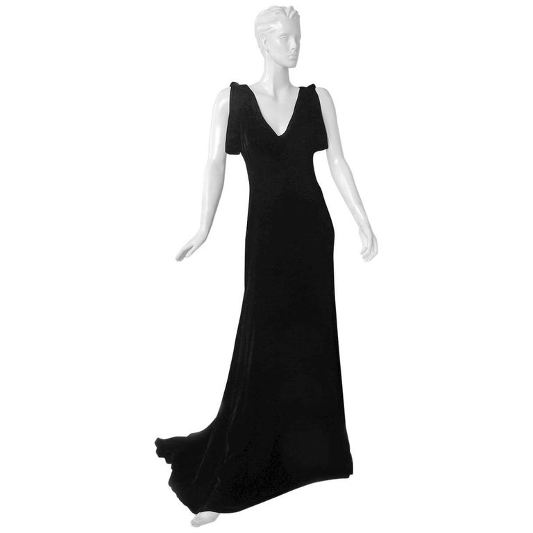 Alexander McQueen 2007 Luscious Black Velvet Bias Cut Dress Gown