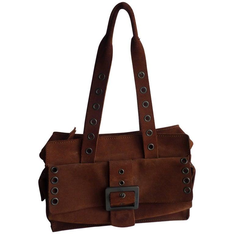 Dolce & Gabbana Chocolate Brown Suede Shoulder Bag W/Grommets For Sale