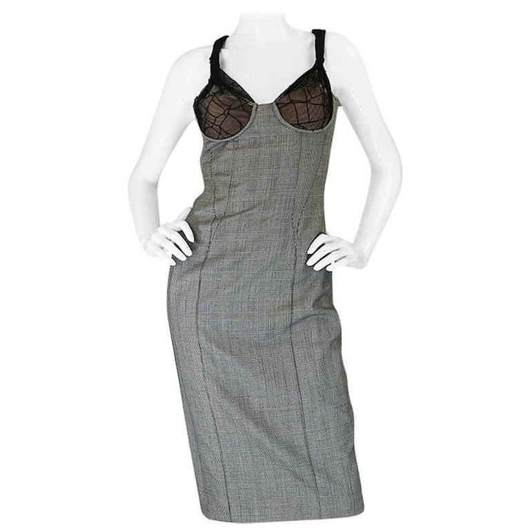 S/S 1998 Gianni Versace Couture Houndstooth Dress w Lace Cups