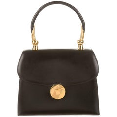 Hermes Black Leather Gold Emblem Kelly Top Handle Satchel Bag