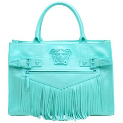 VERSACE AQUA BLUE LEATHER FRINGE PALAZZO SHOULDER BAG New with tags