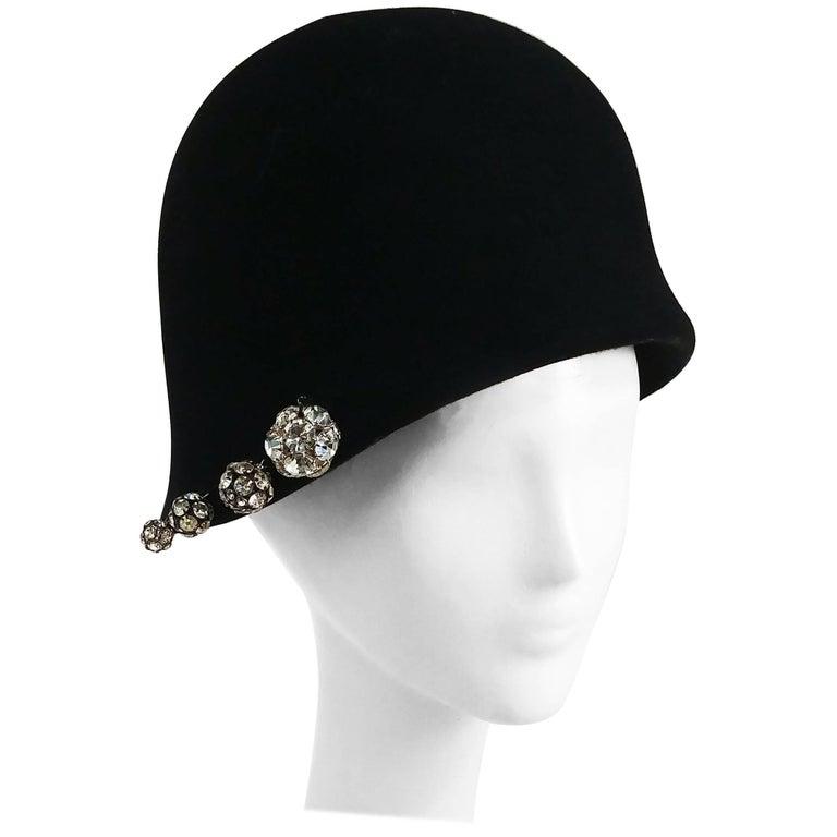1960s Cloche Hat w/ Rhinestone Buttons