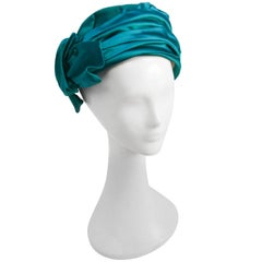 1960s Green Satin Turban Hat w/ Side Bow