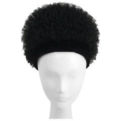 1960s Black Tulle Ruffled Hat w/ Velvet Front Bow