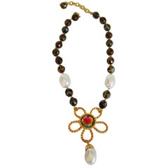 Francoise Montague Pyrite and Glass Pearl Drop Necklace