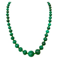"1970'S Malachite Graduated Bead 21"" Necklace"