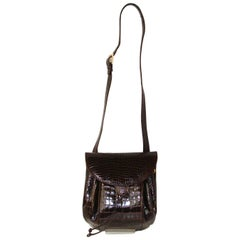 Roomy, Rich Brown Alligator Shoulder/Crossbody Bag by Judith Leiber FALL!