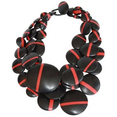 Monies Red and Black Stripe Multi Circle Statement Necklace