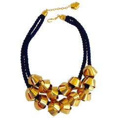 Herve van der Straeten Blue Cording and Gilded Brass Statement Necklace