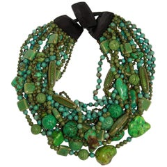 Monies One of a Kind Turquoise and Ceramic Statement Necklace
