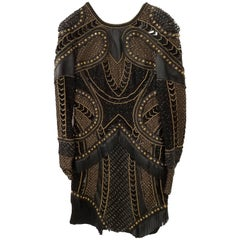 New Versace Embellished Black Leather Dress 38