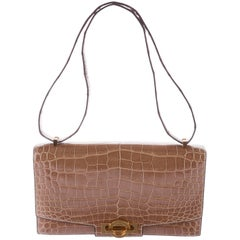 Hermes Cognac Crocodile Exotic Leather Kelly Top Handle Shoulder Flap Bag