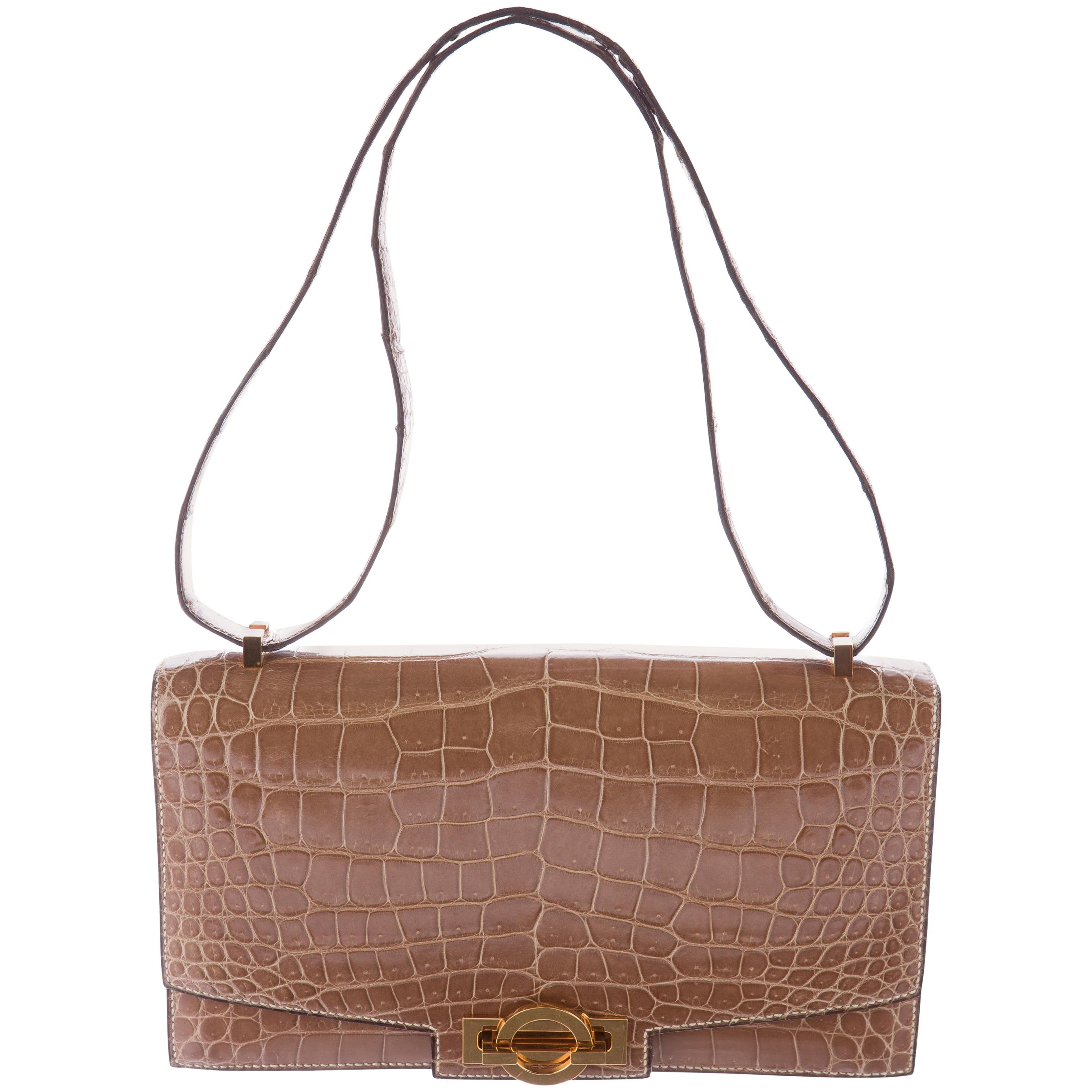 Hermes Cognac Crocodile Exotic Leather Kelly Top Handle Shoulder Flap Bag