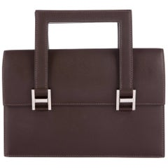 Hermes Brown Leather H Buckles Evening Top Handle Satchel Bag