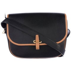Hermes Black Leather Tan Trim Gold Saddle Shoulder Flap Bag
