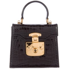 Gucci Crocodile Leather Gold Kelly Style Evening Top Handle Satchel Shoulder Bag