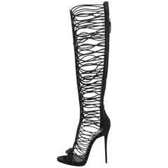 Giuseppe Zanotti New Black Suede Cut Out Knee High Boots W/Box