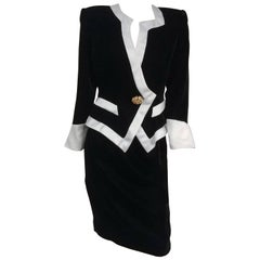 1980s Lilli Rubin Black Velvet Jacket & Skirt Suit Set w/ White Satin Trim