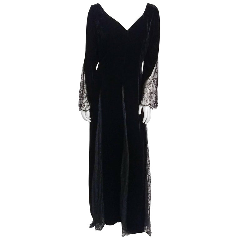 1980s Bill Blass Black Velvet Gown w/ Lace Detail