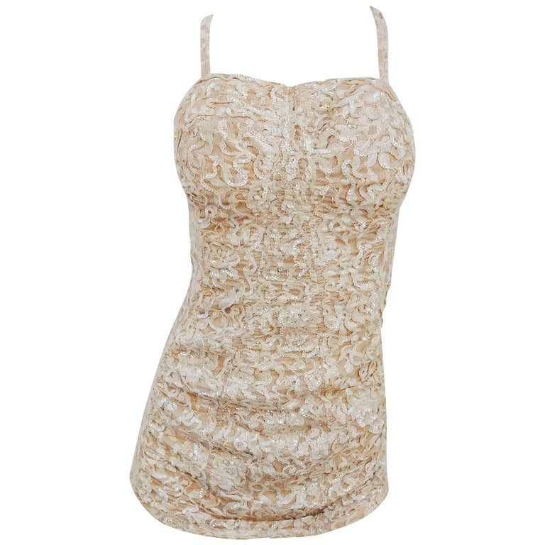 1950s Ivory Sequin One Piece Bathing Suit