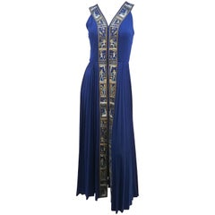 1970s Shaheen Navy Jersey Dress w/ Egyptian Trim