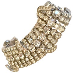 Art Deco Pot Metal & Clear Crystal Rhinestone Bracelet