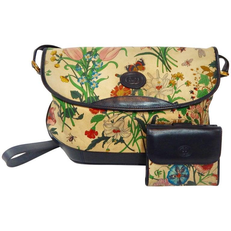 vintage 1970s gucci flora handbag and wallet at 1stdibs