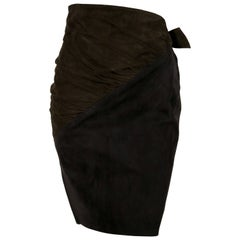 1990 AZZEDINE ALAIA olive and black suede skirt with ruching and buckle