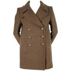 Balmain new khaki melton wool military coat