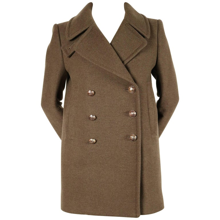 new BALMAIN khaki melton wool military coat