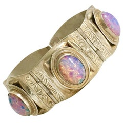 Midcentury Taxco Sterling and Fire Opal Art Glass Panel Bracelet-Signed