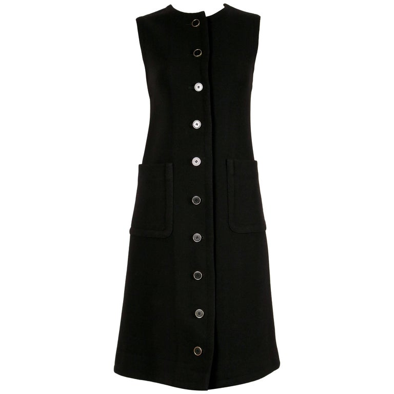 1960's LANVIN black wool A-line dress