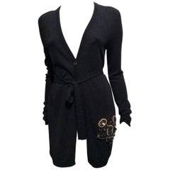 6267 Dark Grey Long Cashmere Cardigan With Embellishment Sz42 (Us6)