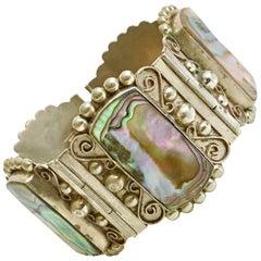 Vintage Sterling & Abaolone Shell Panel Bracelet